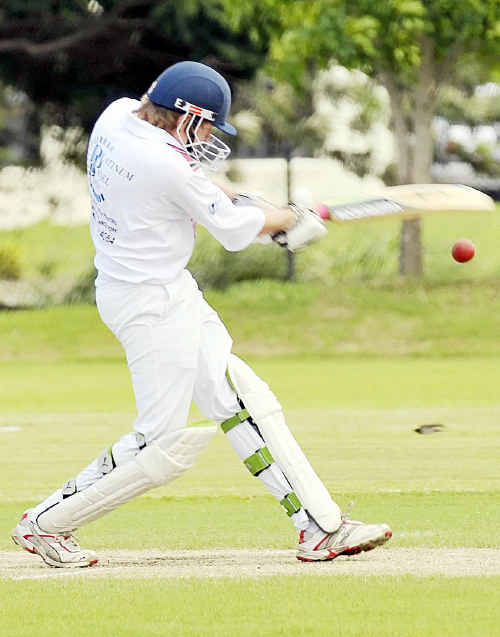Country Wests batsman Daniel Faulkner drives the ball to the boundary in Sunday's grand final match against Brothers at Salter Oval.