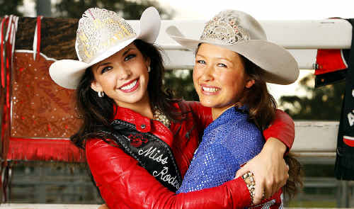 Miss Rodeo Canada Britteny Foster and Miss Rodeo Queen of Australia Tayla-Maree Johnston catch up ahead of the National Rodeo Finals in Ipswich.