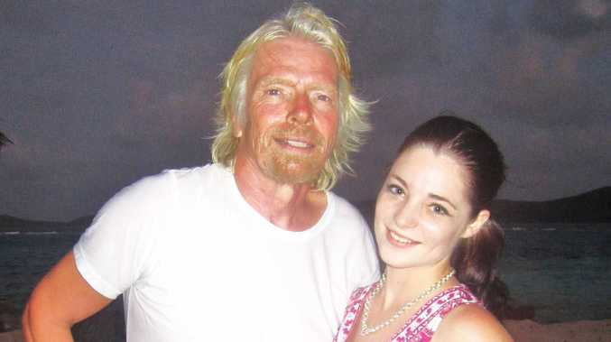 Alice McDermott with Richard Branson in the Carribean as part of the final six on X Factor.
