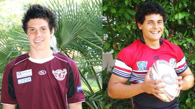 14-year-old Shane Wright (left) has signed a contract with the Manly Sea Eagles for the next three years while Former Whitsunday Brahmans junior Rhyse Martin (right) has been signed by the Sydney Roosters on a three year deal as part of their under-20s National Youth Cup team.