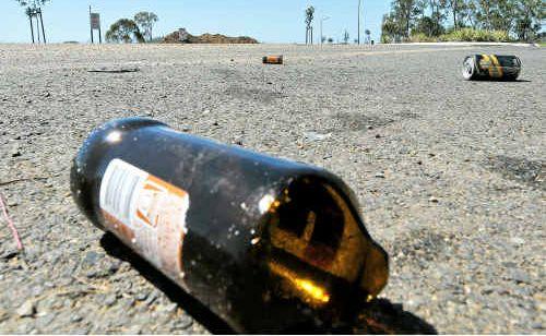 A beer bottle left behind after a teenage party in Emmadale on September 11.