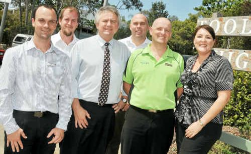 At Toolooa State High School meet-and-greet were Philip Clynes (The Observer), school principal Alan Whitfield, Ross Jardine, Bryan Townsend, Justin Harrison and Nicole Carnovale.