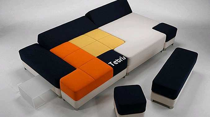 Play some Nintendo on the Tetris sofa, thanks to its interchangeable parts.