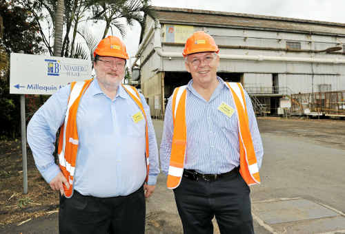 Belgian ambassador Patrick Renault and Bundaberg Sugar southern operations general manager Ray Hatt at the Millaquin Mill. Photo: Mike Knott bel2109a