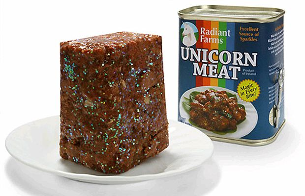 ThinkGeek's special Canned Unicorn Meat, which features 'magic in every bite' and is an 'excellent source of sparkles'.