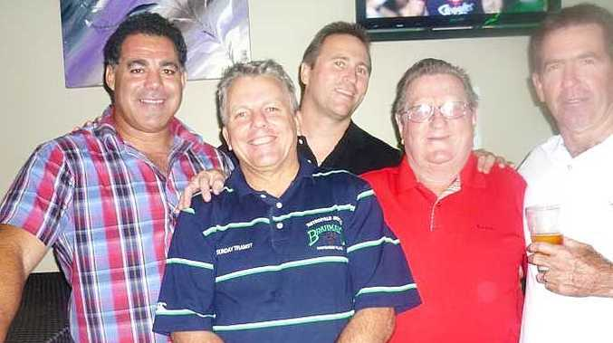 The Whitsunday Old Bulls held one of their major fundraising nights at Hotel Metropole on Saturday night. On hand to speak to guests were league legends Mal Meninga and Kerry Boustead who are pictured here with Gary Carter, Jack Carter and Eddie Muller.
