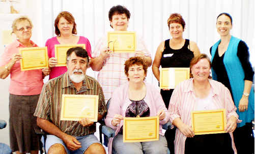 Front row from left, John Weier, Zelma Day, Leonie Byrnes. Back Row from left: Marijke Tinley, Kerry Derix, Olga Greaves, Colleen Weier, Karin Lategan (dietitian and credentialled diabetes educator). Absent graduate: Caroline Riley.