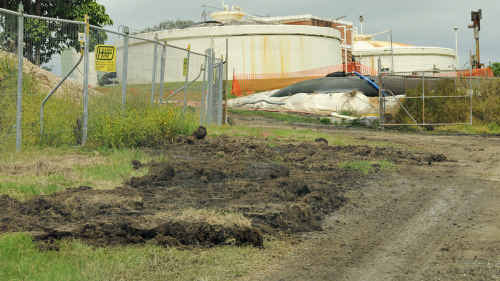 A spill at Gympie's sewage treatment plant was cleaned up immediately when noticed yesterday morning.