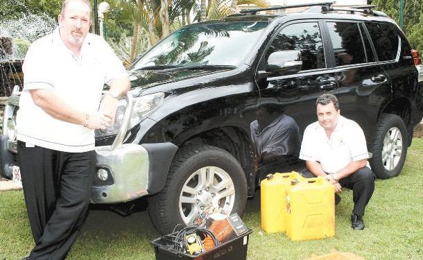 Fraser Coast Regional Council CEO Andrew Brien and executive manager of strategic integration Kim Roberts are ready for anything that outback Queensland can throw at them to raise funds for Angel Flight.