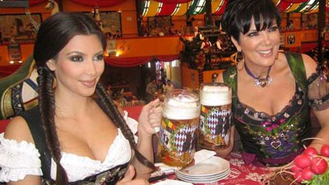 Kim Kardashian and mother Kris in traditional German attire for Oktoberfest in Munich.