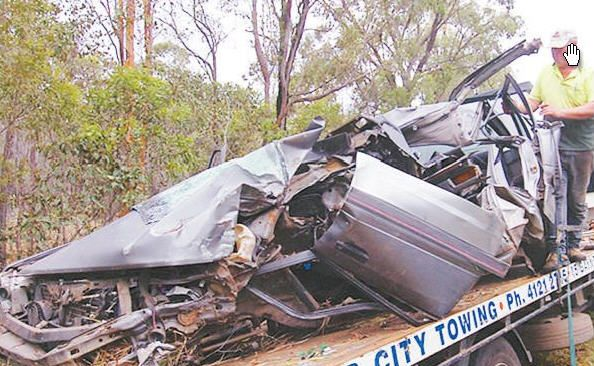 The scene of the fatal accident on the Bruce Highway near Torbanlea in November 2008.