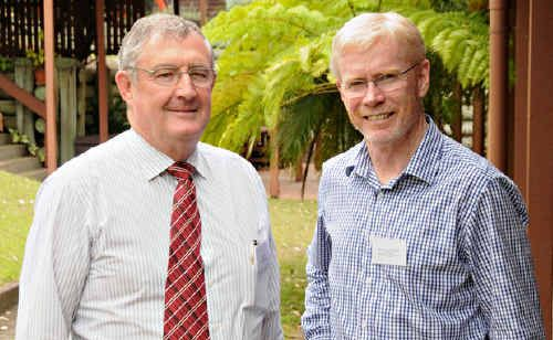 Mayor Ron Dyne and State Government Business and Industry Development executive Malcolm Letts at yesterday's Blueprint for the Bush dialogue in Gympie.