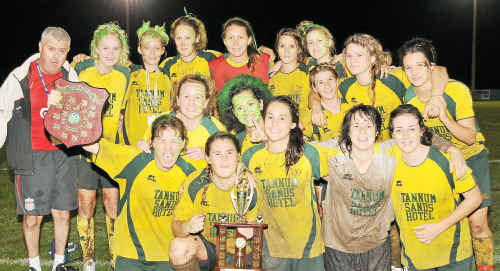 Ladies' Division grand final winners BTFC celebrate their victory on Saturday night.