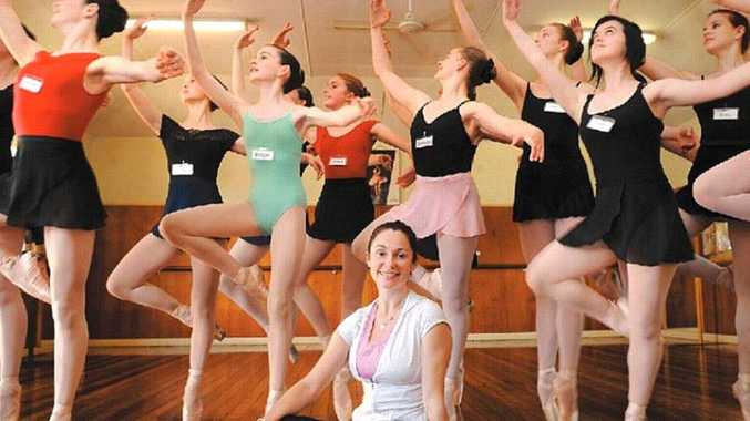 Lisa Bolte, former principal artist with the Australian Ballet, with young dancers at the Alstonville Dance Studio.