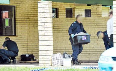 Police work to dismantle an alleged meth lab operation in Thabeban.