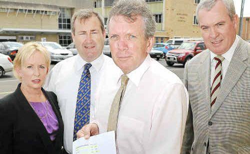 Member for Mudgeeraba Ros Bates, Member for Bundaberg Jack Dempsey, shadow health minister Mark McArdle and Member for Gaven Dr Alexander Douglas.