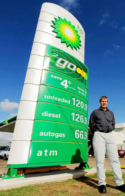 Owner of Wessel Petroleum Paul Wessel, stand out the front of North Bundaberg BP.