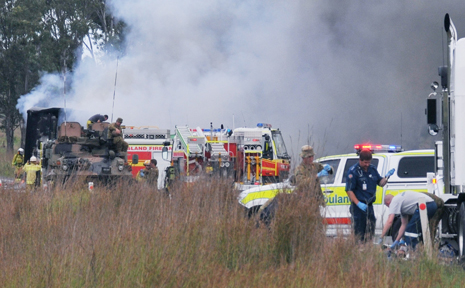 The scene of yesterday's Bruce Highway smash south of Rockhampton.