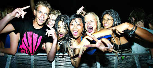 Thousands of schoolies party into the night during Schoolies Week on the Gold Coast.