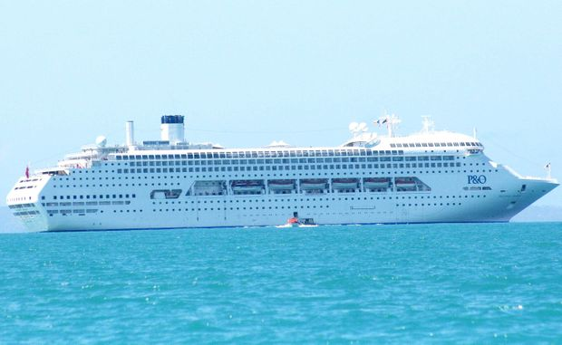 The magnificent Pacific Dawn cruise ship in Airlie Beach on Monday.