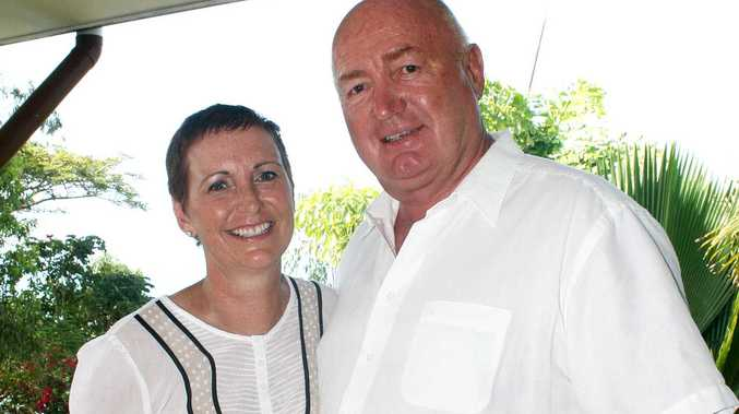 Breast cancer survivor Corrie Gardner with her husband John at their home in the Whitsundays.