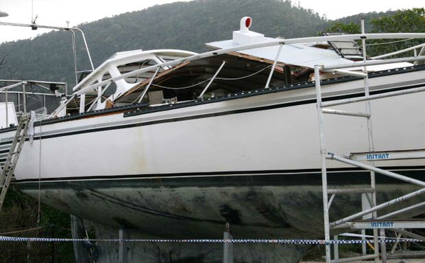 The gas bottle explosion caused extensive damage to this 46ft boat at Jubilee Pocket on Friday.