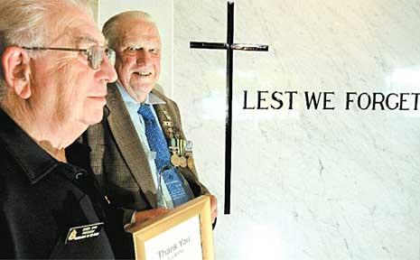 Korean War veteran Kevin George (Dawdie) Graham (right) with Murwillumbah RSL president Derek Sims.