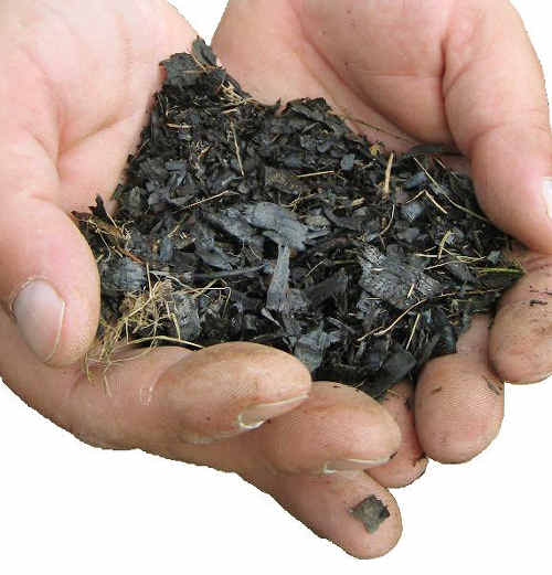 The charcoal-like carbon-capturing substance is the bi-product of the pyrolysis process, which converts organic waste into energy.