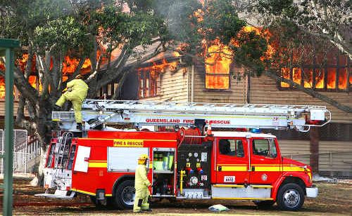 Silkstone State School at the height of the blaze last year.