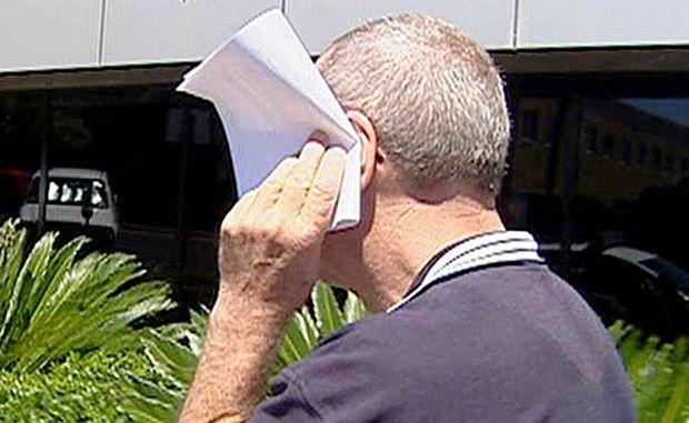 School teacher Gerard Vincent Byrnes leaves court after an earlier appearance.