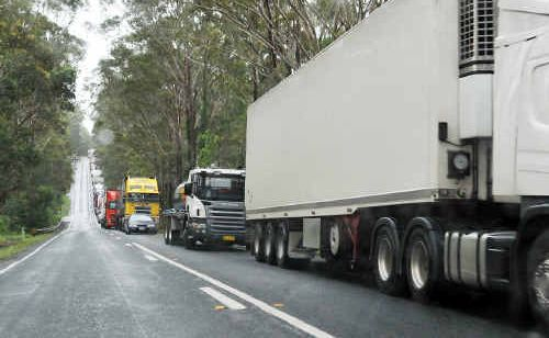 Trucks were delayed on the Pacific Highway queuing at the scenes of three semi-trailer accidents.