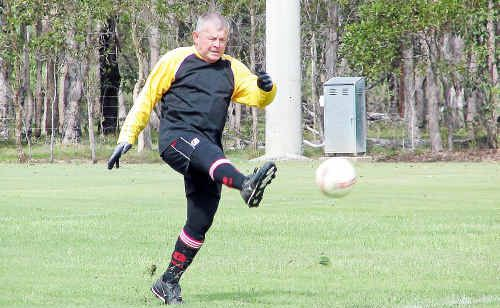 Maryborough's Ian Van Latham in the Masters Games at Granville's Federation Park.