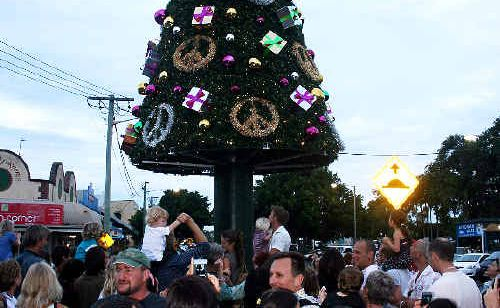 TREE CHOPPED: The lights won't be shining at Byron Bay this Christmas. Hundreds of people enjoyed the first Christmas tree lights in 2007.