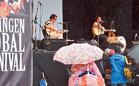 Ego Lemmos from Istanbul played to a small but hardy audience at the Global Carnival before rain forced its cancellation.