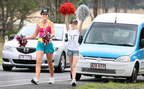 Rachel Dioth and her daughter Amalya trekked from Laidley to Ipswich to raise money for cancer. PHOTO: Rob Williams, QT