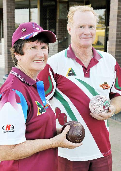 Betty Andrewartha and Keith Bayntun at the Tantitha Bowls Club.