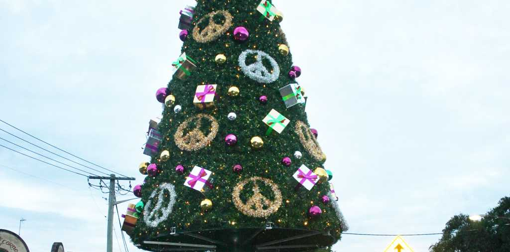 The lights won't be shining at Byron Bay this Christmas. Hundreds of people enjoyed the first lighting up of the Christmas tree in 2007.