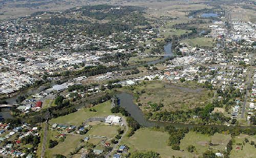 An aerial photo of Lismore, looking south.