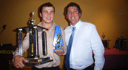 Brothers fullback Reece Baker with coach John Jenkins after winning the club's A grade Best and Fairest award.