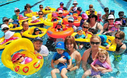 Mums and bubs in the swim and sharing the benefits at Norville Pool.