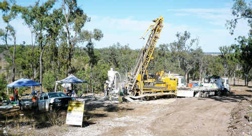 Aussie Q workers drill a site called Gordons 170 at the mine near Rawbelle, north of Monto.