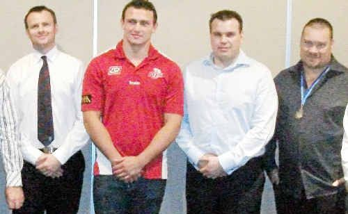 Ross Armstrong, Queensland Reds player JaSchatz, Dustion Lowryke  and Slade Point president Graeme Lodge at the club's presentation night.