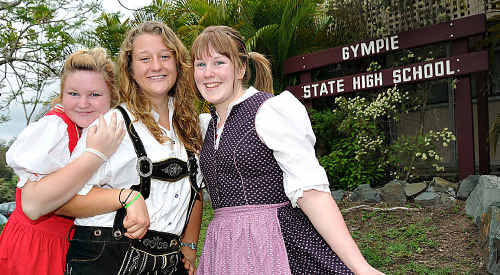 Gympie State High School German students Jabecca Stewart, Lexi Gugger and Mikaela Calvert are raising money to take their film to Sydney.
