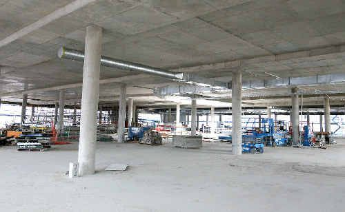 FIt-out has begun in what will be the bottom level of Myer, at the Caneland development site.