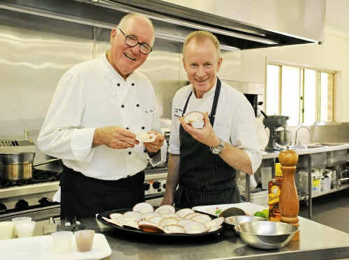 Peter Howard and David Pugh are in Bundaberg to promote local produce and teach students and young chefs.