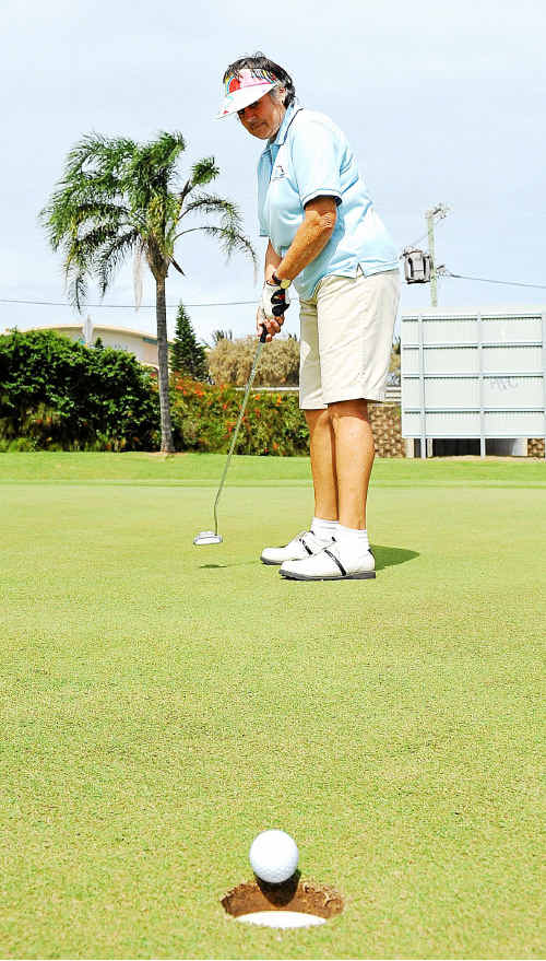 Heather Warner, of Gladstone, makes a beautiful putt yesterday in the Bargara Ladies Classic.