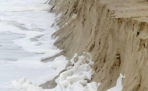 Heavy seas batter the coastline at Duranbah Beach.