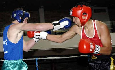 A file picture of Jed Cullen, left, in action at the Lismore Workers Club. Cullen, from Maloney's Glove Club in Lismore, recorded his first win in the Kingscliff tournament at the weekend.