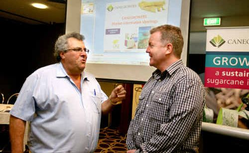 Mackay Canegrowers Ltd chairman Paul Schmebri chats to Steve Greenwood, the new CEO of Canegrowers Australia.
