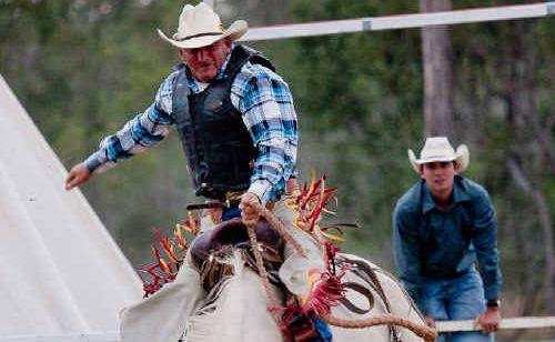 Engineers Queensland open saddle bronc winner Scott Burgess.